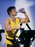 Drinking water man exercising
