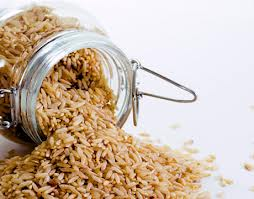 Brown rice in glass canister