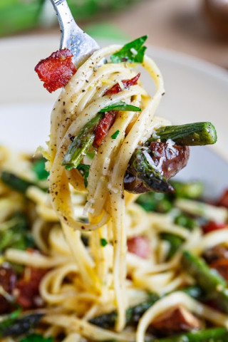 Roast Asparagus and Mushroom Carbonara 800 9011